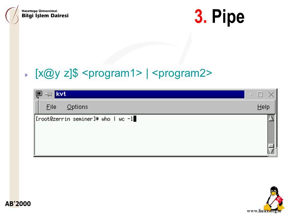 3. Pipe [x@y z]$ <program1> | <program2>